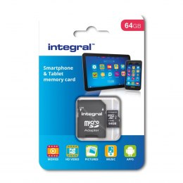 Integral karta pamięci 64GB microSDHC/XC Class 10 UHS-I U1 Smartphone and Tablet